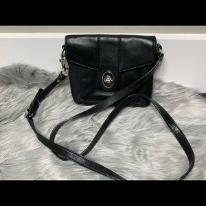 Coach Black Smooth Leather Crossbody Bag Purse